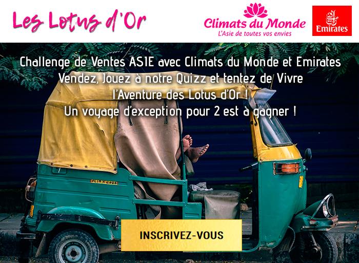 Challenge de Ventes ASIE avec Climats du Monde et Emirates